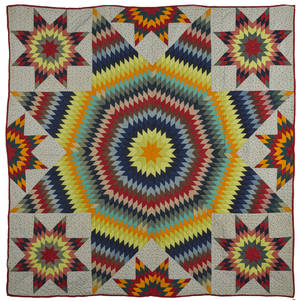Vibrant pieced Bethlehem star quilt 19th c