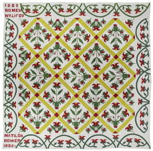 Pennsylvania pieced and appliqu quilt dated