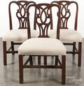 Set of four English mahogany dining chairs