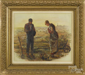 Mixed media of two figures working a field