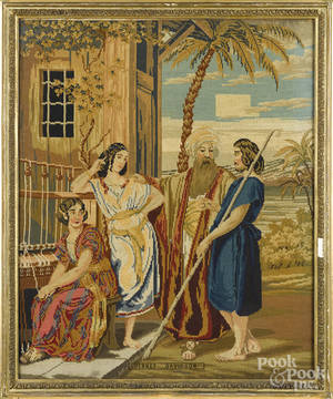 Victorian needlepoint embroidery of a biblical scene