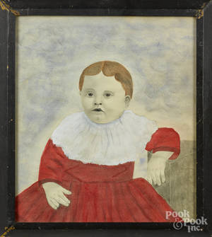 American watercolor and pencil folk portrait of a child in a red dress