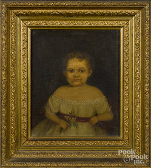 Pair of American oil on canvas portraits of a girl and boy