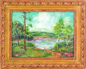 American oil on canvas impressionist landscape