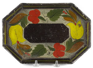 Small Pennsylvania toleware octagonal tray 19th c