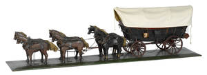 Pennsylvania carved and painted Conestoga wagon late 19th c
