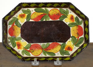 Small Pennsylvania octagonal toleware tray 19th c