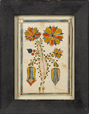 Southeastern Pennsylvania ink and watercolor fraktur bookplate early 19th c