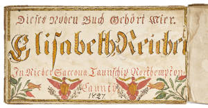 Northampton County Pennsylvania ink and watercolor fraktur bookplate dated