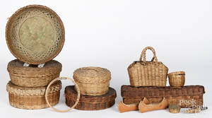 Eight Native American Indian baskets