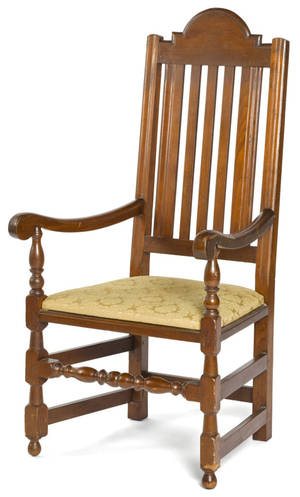 Southeastern Pennsylvania William  Mary walnut banisterback armchair ca 1730