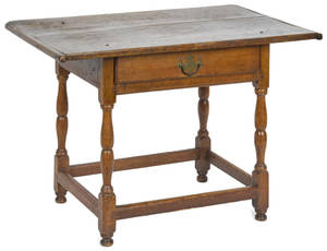 New England pine and maple tavern table late 18th c
