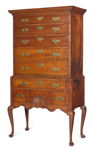 New England Queen Anne tiger maple high chest ca 1770