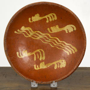 Pennsylvania redware pie plate 19th c
