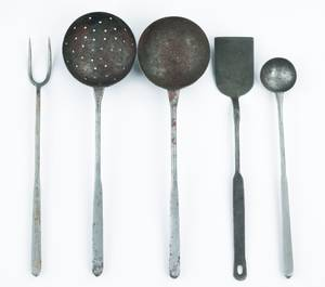 Five wrought iron utensils
