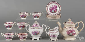 English Staffordshire lustre tea service with transfer decoration of Queen Victoria and Prince Albert