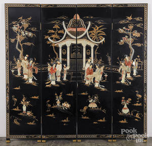 Chinese hardstone mounted black lacquer fourpart folding screen