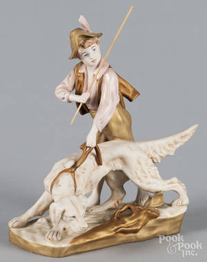 Royal Dux figure of a boy and dog