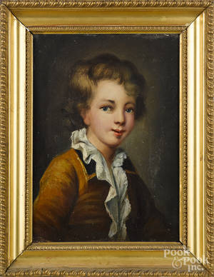 Pair of Continental oil on canvas portraits of a boy and girl