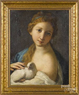Continental oil on canvas portrait of a young woman with a dove
