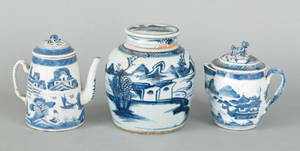 Canton blue and white jug and cover ca 1800