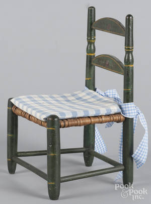 Painted pine rush seat doll chair