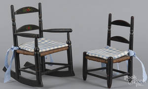 Two painted rush seat doll chairs