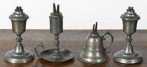 Four American pewter whale oil lamps 19th c