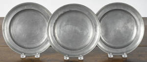 Three Hartford Connecticut pewter plates ca 1830