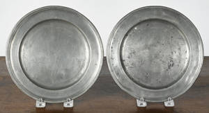 Two Hartford Connecticut pewter plates ca 1790