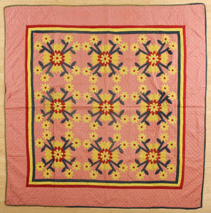 Pieced and appliqu floral pattern quilt ca 1900