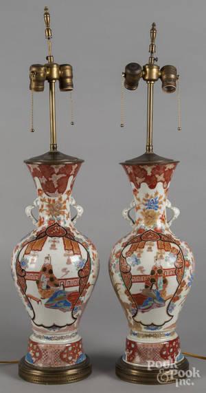 Pair of Japanese Arita porcelain table lamps