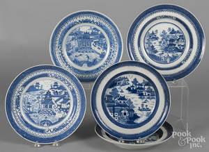Five Chinese export porcelain blue and white Nanking and Canton shallow bowls