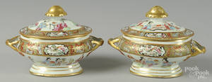 Pair of Chinese export porcelain famille rose sauce tureens