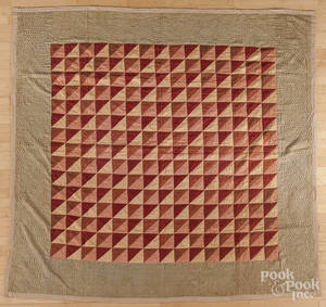 Pieced flying geese variant quilt