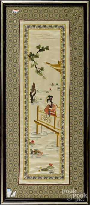 Three Chinese silk embroideries