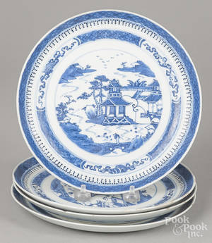 Four Chinese export porcelain Nanking plates
