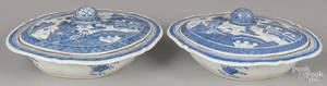 Pair of Chinese export porcelain Canton vegetables