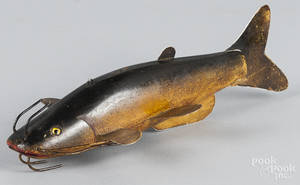 Contemporary carved and painted catfish decoy