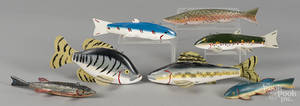 Seven contemporary carved and painted fish decoys