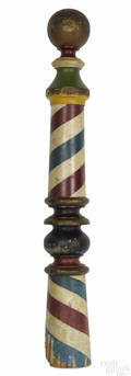 Vibrant polychromed pine barber pole 19th c
