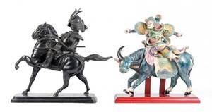 Group of 2 Asian Sculptures of Riders on Animals