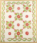 Appliqu whig rose variant quilt late 19th c