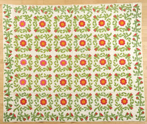 Appliqu rose pattern quilt late 19th c