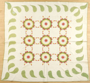 Pieced and appliqu star pattern quilt late 19th c