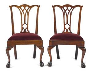 Pair of Pennsylvania Chippendale mahogany dining chairs ca 1775