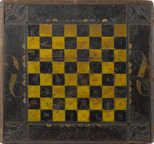 American carved and painted pine gameboard 19th c