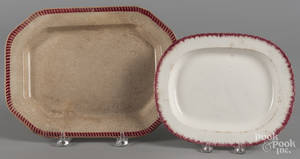 Two pearlware red feather edge platters