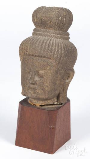 Carved sandstone Buddha head