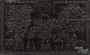 Chinese carved hardwood panel
